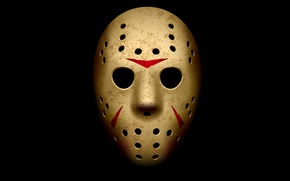 Picture mask, Friday the 13th, Jason Voorhees, black background, Jason Voorhees, Friday the 13th