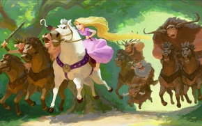 Picture Walt Disney, art, Tangled, cartoon, robbers, figure, Rapunzel: a Tangled tale, jump, Rapunzel, Rapunzel, riders, ...