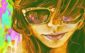Picture girl, face, figure, art, glasses, bright