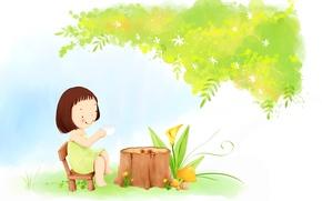 Wallpaper flowers, smile, tree, tea, foliage, mushrooms, dress, the tea party, girl, baby Wallpaper, stump