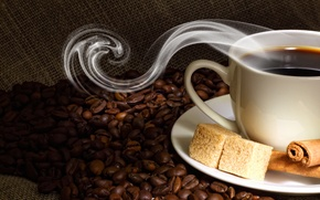Picture coffee, grain, Cup, sugar, saucer