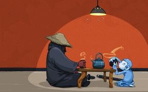 Wallpaper monkey, warrior, room, the tea party, katana