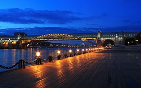 Wallpaper bridge, lights, Moscow, night city, promenade, The Moscow river