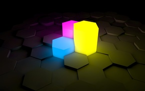 Picture purple, yellow, blue, Hexagon