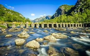 Picture mountains, bridge, river, stones, Norway, Norway, Rogaland, Rogaland, Eigersund, River Gyaåna, Hinterland Klopp, Eigersund