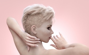 Wallpaper hair, haircut, lips, girl, rendering, hands