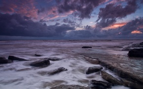 Picture sea, the sky, clouds, sunset, clouds, stones, shore, the evening, UK, Wales