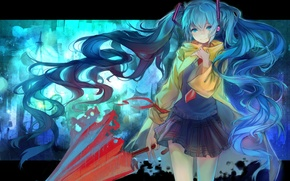 Picture girl, umbrella, headphones, tie, form, Hatsune Miku, Vocaloid