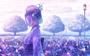 Wallpaper the sky, girl, clouds, trees, nature, anime, headphones, art, lights, kimono, bounin