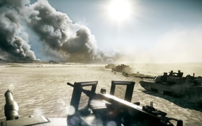 Picture machine gun, tanks, Battlefield 3, desert., the smoke in the distance