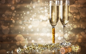 Picture holiday, new year, glasses, figures, tube, champagne, bokeh, sequins, 2014