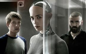 Picture cinema, girl, glass, prototype, man, movie, face, glasses, film, cyborg, Sci-Fi, Swedish, Irish, 2015, Ava, …