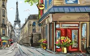 Picture flowers, bike, street, Paris, Eiffel tower, painting