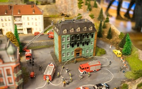Picture fire, house, miniature, firefighters