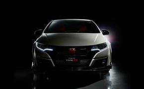 Picture face, Honda, black background, Honda, Civic, civici, Type R