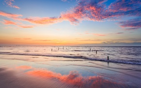 Picture sand, the sky, clouds, reflection, dawn, shore, coast, morning, Bay, support, Taiwan, China