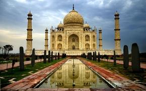 Wallpaper India, Taj Mahal, clouds, minarets, day, architecture, Agra, Taj Mahal, cloudy, the city, dome, marble, ...