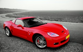 Wallpaper red, road, Chevrolet, Corvette