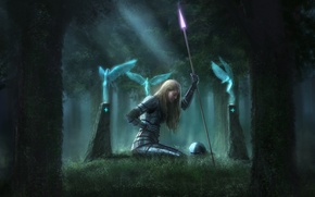 Wallpaper armor, forest, spear, girl, wound, blood, columns, helmet, wings, magic, perfume, weapons