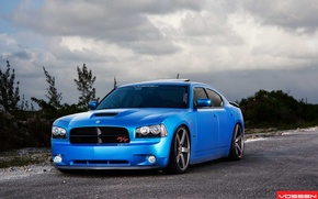 Picture clouds, blue, vossen, Dodge Charger R/T