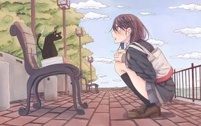 Picture cat, the sky, girl, art, shop, promenade, rutchifu