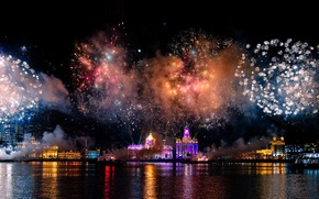 Picture night, lights, salute, China, Shanghai, fireworks, harbour