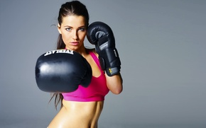 Picture Girl, Look, Sport, Face, Gloves, Hands, Brunette, Beautiful, Boxing, Wound