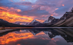 Picture the sky, clouds, reflection, mountains, lake
