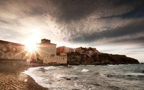Picture home, shore, beach, sea, rock, wave, the sun, the sky, landscape
