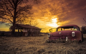 Picture car, sunset, abandoned, rusty, sunday, sliders
