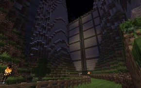 Picture the sky, grass, mountains, earth, the fence, stars, gate, torch, gorge, Minecraft