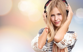Picture romance, headphones, sound, girl, mood, music, positive, stay, relax, gentle, smile, wallpaper., bokeh, blur, summer, ...