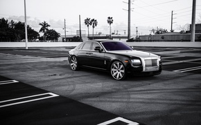 Picture black, lights, Rolls Royce, Ghost, drives, black, rolls Royce