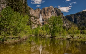 Picture trees, mountains, river, waterfall, CA, Yosemite, California, Yosemite National Park, Sierra Nevada, the Merced river, …