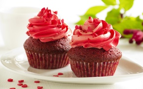 Picture the sweetness, cream, cakes, cupcakes, sugar hearts