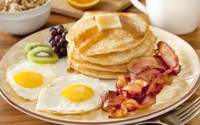 Picture Breakfast, fruit, scrambled eggs, fruit, pancakes, pancakes, Breakfast, scrambled eggs