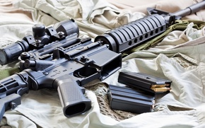 Picture bullets, M16, boots, telescopic sight