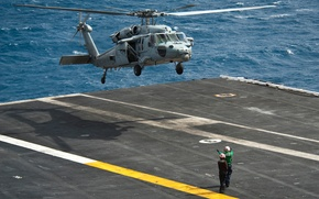 Picture black hawk, UH-60, Black Hawk, the carrier, landing, sea, Sikorsky, helicopter
