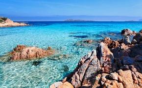Picture sea, the sky, transparency, stones, rocks, Bay, horizon