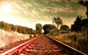 Picture road, the sky, clouds, trees, stones, rails, crushed stone