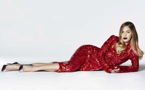 Wallpaper model, glitter, photographer, in red, dress, white background, makeup, hairstyle, Timothy White, on the floor, ...