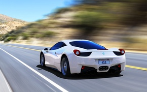Picture Ferrari, 458, Speed, White, Italia, Road, Supercar, Rear