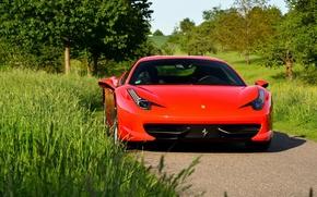 Picture red, logo, Ferrari 458