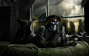 Picture the city, bed, mask, gas mask, lies, captain, phone, ruins, romance of the Apocalypse, romantically …