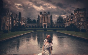 Picture girl, clouds, castle, dress, Shelby Robinson