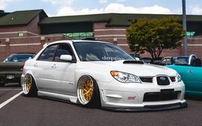 Picture white, wheels, subaru, japan, wrx, impreza, jdm, tuning, front, sti, face