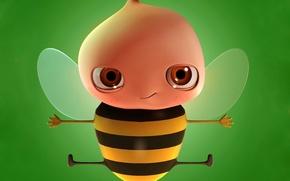 Wallpaper green, Bee
