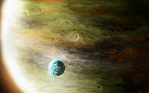 Picture space, planet, art, giant, gas