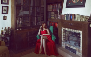 Picture girl, face, style, room, red, books, dress, fireplace, legs