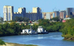 Picture summer, the city, construction, River, OMSK, steamers, Siberia
